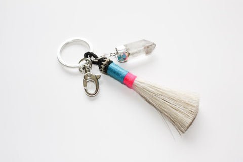 Yarn-Wrapped Horsehair + Crystal Keychain