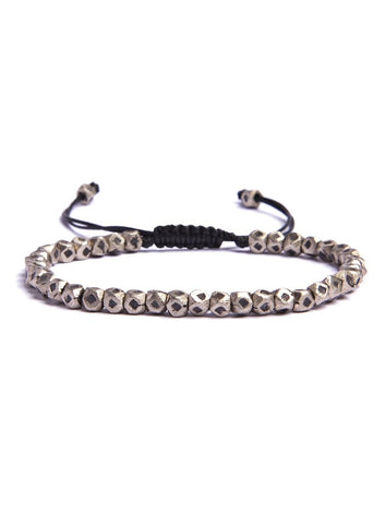 Small Geometric Silver Bead Men's Bracelet