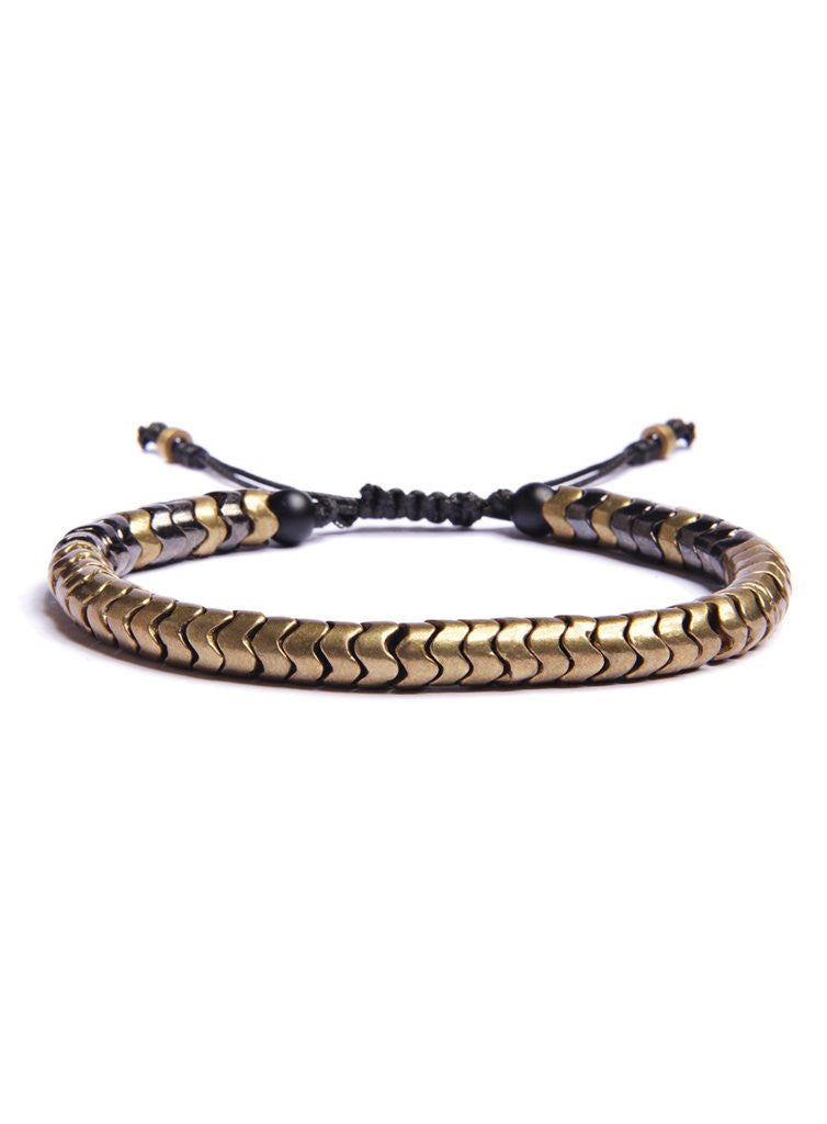 Brass Snake Bead Men's Bracelet