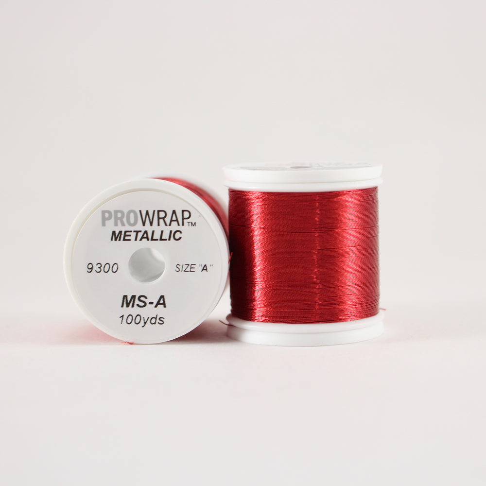 ProWrap metallic thread Red #9300 (size A 100yd. spool)