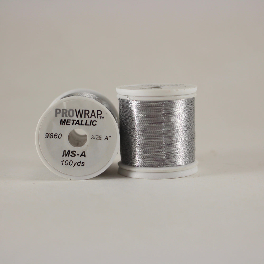 ProWrap metallic thread Silver #9860 (size A 100yd. spool)