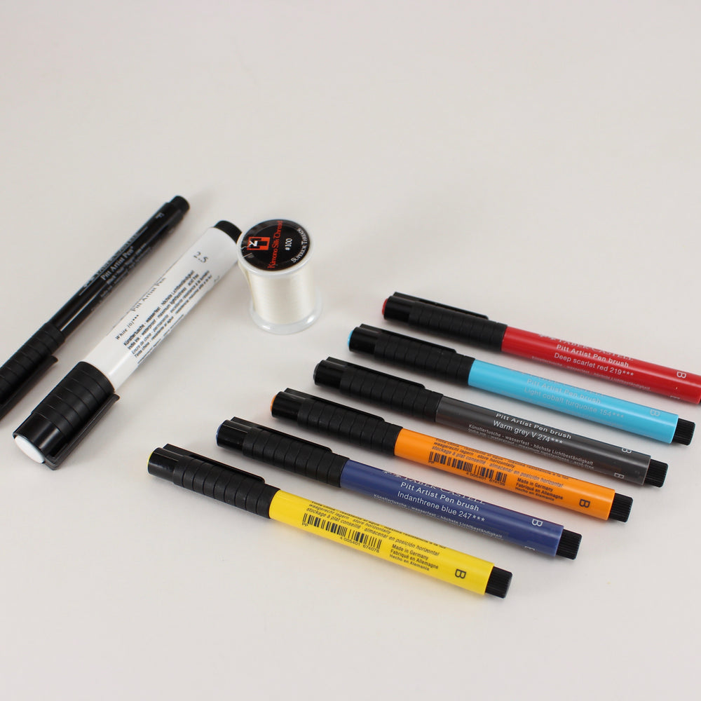 Complete India ink marker set with silk