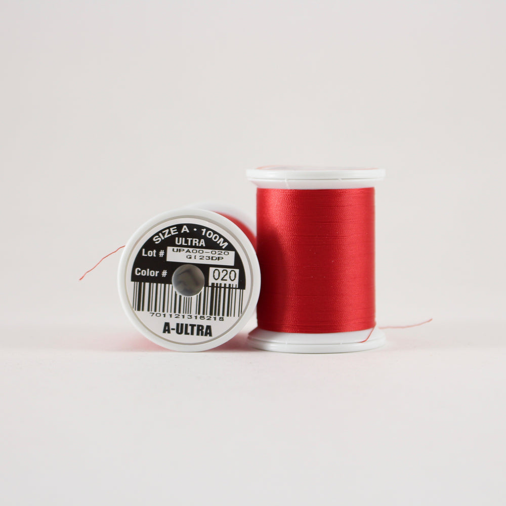 Fuji Ultra Poly rod wrapping thread in Candy Apple Red #020 (Size A 100m spool)