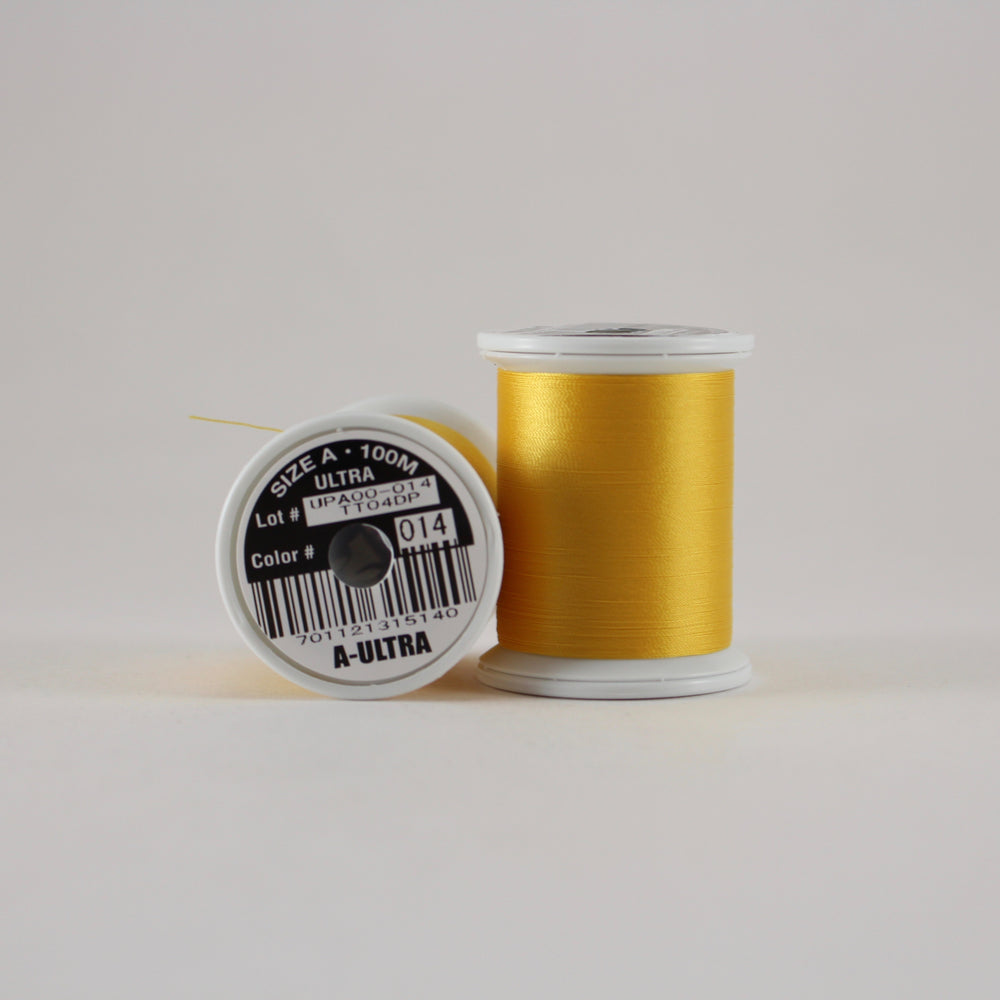 Fuji Ultra Poly rod wrapping thread in Goldenrod #014 (Size A 100m spool)