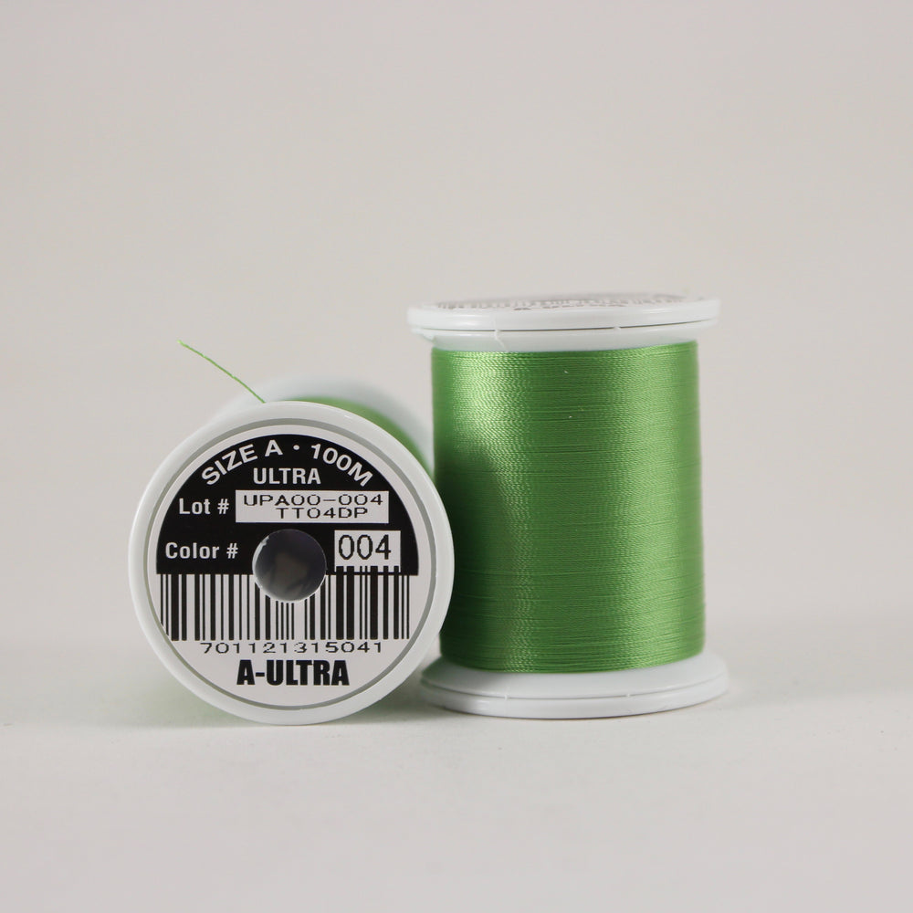 Fuji Ultra Poly rod wrapping thread in Medium Green #004 (Size A 100m spool)