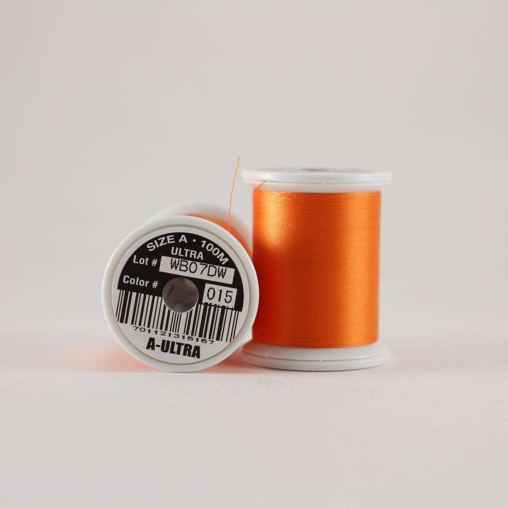 Fuji Ultra Poly rod wrapping thread in Orange #015 (Size A 100m spool)