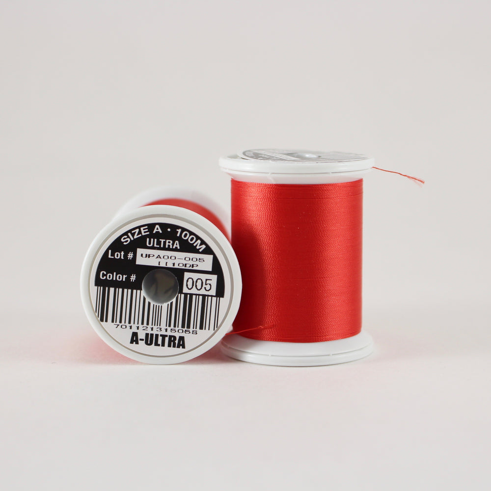 Fuji Ultra Poly rod wrapping thread in Scarlet #005 (Size A 100m spool)