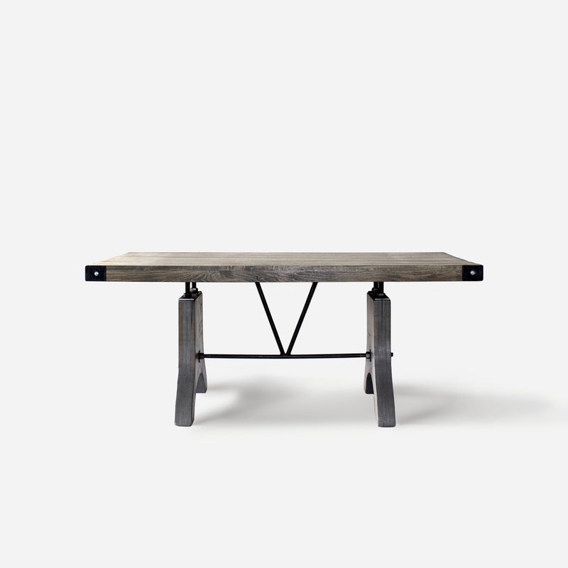 Dining Table No. 58. Classic Gray w/ Metal Corners
