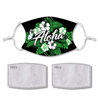 Sublimated Face Mask Aloha with 2 filters & strap adjuster