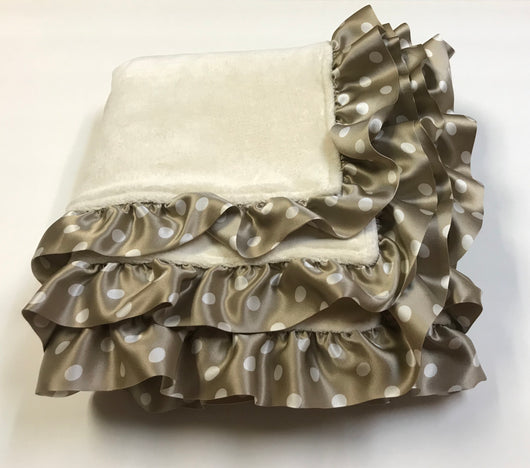 Organice Velour Cotton Blanket with Polka Dots Silk Ruffle Trim