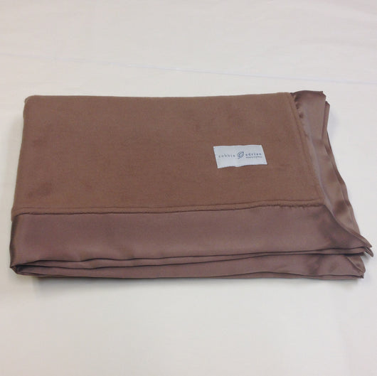 Ready to Ship Special Version Brown Fleece Organic Baby Blanket with Straight Silk Trim - Robbie Adrian Luxury Organics
