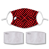 Sublimated Face Mask MAZE with 2 filters & strap adjuster