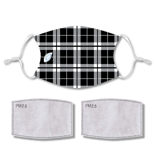 Sublimated Face Mask PLAID BLACK with 2 filters & strap adjuster