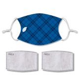 Sublimated Face Mask PLAID BLUE with 2 filters & strap adjuster