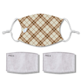 Sublimated Face Mask PLAID TAN with 2 filters & strap adjuster