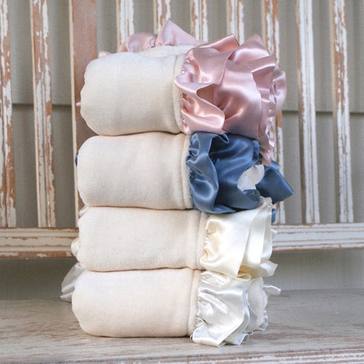 Velour Organic Baby Blanket with Silk Ruffle - Robbie Adrian Luxury Organics