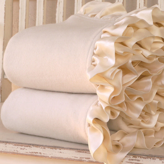 Fleece Organic Baby Blanket with Silk Ruffle - Robbie Adrian Luxury Organics