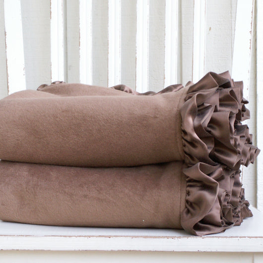 Ready to Ship Special Brown Fleece Organic Baby Blanket with Silk Ruffle - Robbie Adrian Luxury Organics