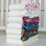 Fleece Organic Baby Blanket with A Little Less Silk Ruffle - Robbie Adrian Luxury Organics