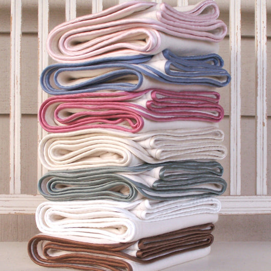 Organic Cotton Baby Blankets with Silk Piping - Robbie Adrian Luxury Organics