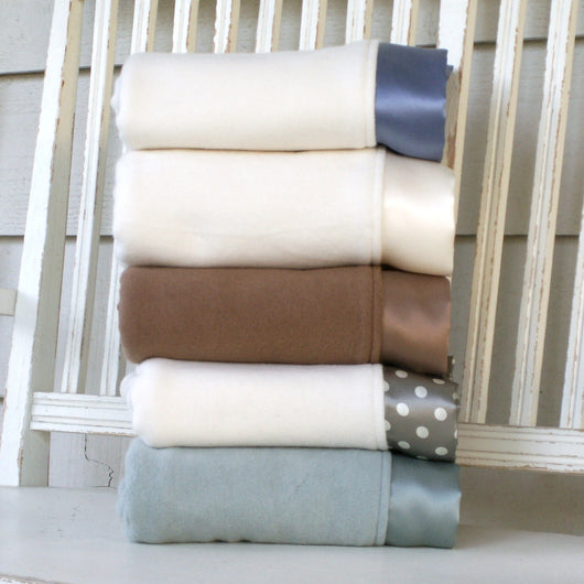 Fleece Organic Baby Blanket with Straight Silk Trim - Robbie Adrian Luxury Organics