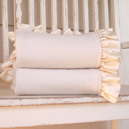 Organic Cotton Blankets with Silk Ruffle Trim - Robbie Adrian Luxury Organics