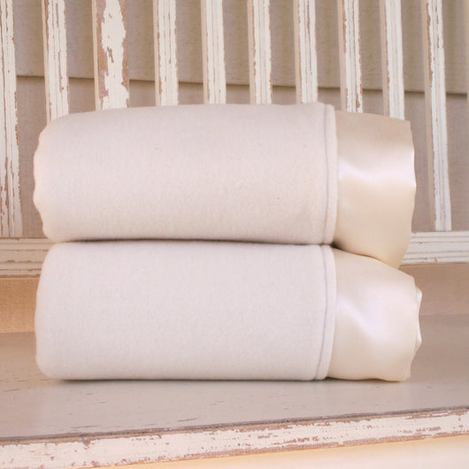 Made in USA Organic Cotton Blanket with Silk Trim - Robbie Adrian Luxury Organics