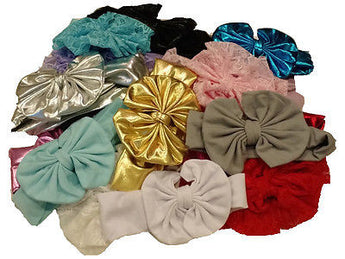 7 Messy Big Bow Headwarp-for 6mos.-6 yr. olds-Choose 7 Colors!  Adorable Bows - Sparkle For Less