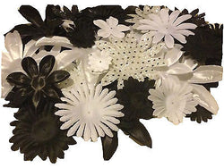 100pcs. Black and White Flower Petals-DIY Hair Bows, Flowers for Weddings, etc. - Sparkle For Less