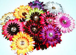 6pcs. Mix Splash of Color Flower Hair Clips-DIY Clips, etc. - Sparkle For Less