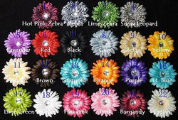 8pcs. Mix Puffy Crystal Gerbera Daisy Flower Hair Clips-4