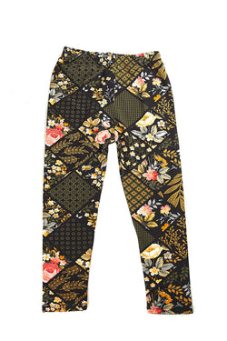 Soft Floral Diamond Printed Leggings for Girls