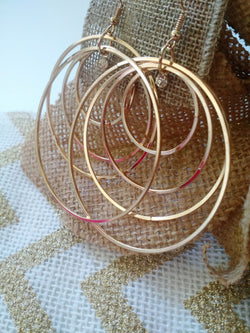 Gold Hoop Earrings w/ Rhinestone-Dangle Women Earrings