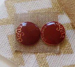 Red Round Earrings w/Swirls