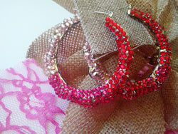 Red and Pink Rhinestone Hoop Earrings