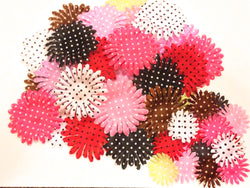 100pcs. Colorful Polka Dot Flower Petals-DIY Hair Bows, Flowers for Weddings, etc.