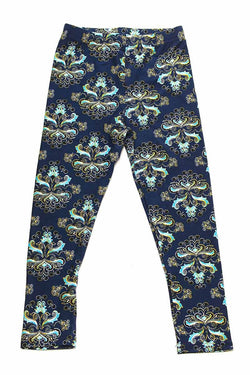Soft Blue Floral Printed Leggings for Girls