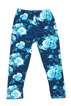 Soft Blue Rose Printed Leggings for Girls