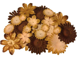 100pcs. Brown Flower Petals-DIY Hair Bows, Flowers for Weddings, etc.