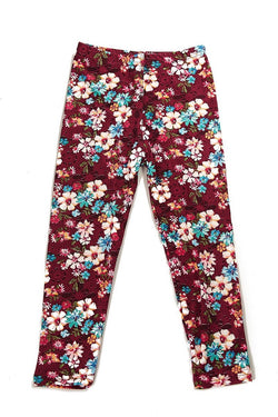 Burgundy Floral Printed Leggings for Girls