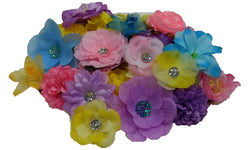 10pcs. Mix Pastel Flower Hair Clips-Pink, Blue, Lavender, Yellow