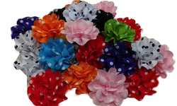 3pcs. Mix Polka Dot Grosgrain Flower Hair Clips