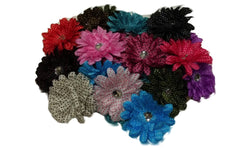 3pcs. Mix Satin Lily Polka Dot Flower Hair Clips