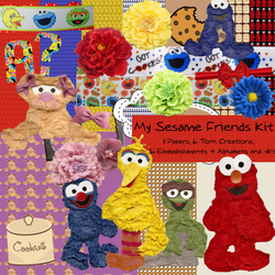 Sesame Friends themed digital scrapbooking kit