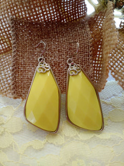 Yellow and Silver Resin Earrings