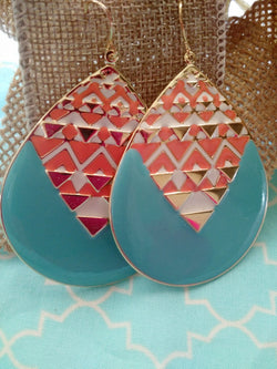 Turquoise w/ Coral Chevron Design Oval Earrings