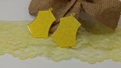 Yellow Glitter Design Earrings