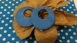 Blue Hoop Wooden Earrings