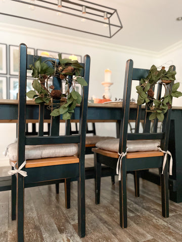 Pine Cone Wreath Chair Styling