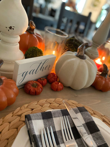 gather tiered tray table scape